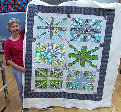 Vickie's Union Jack Quilt after longarm quilting at Quilted Joy