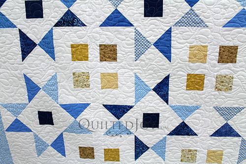 Emily Blue White Star Quilt CU