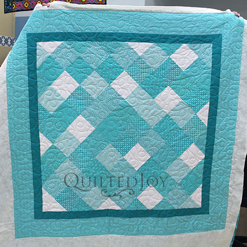 Polly Blue Squares on Point Quilt