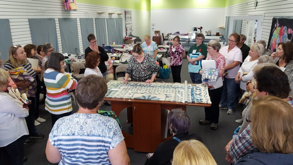 Angela Huffman teaching at Decorative Stitch