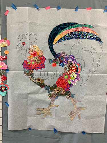 Doodle Doo Rooster Fabric Collage Quilt in progress