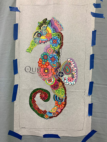 Ebba Seahorse Fabric Collage Quilt in progress
