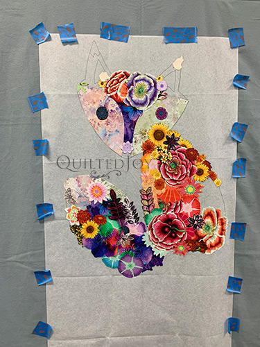 Freida Fox Fabric Collage Quilt in progress