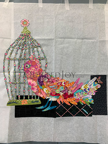 Songbird Fabric Collage Quilt in progress