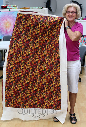 Beth's Autumn Whole Cloth Quilt after a longarm machine rental at Quilted Joy