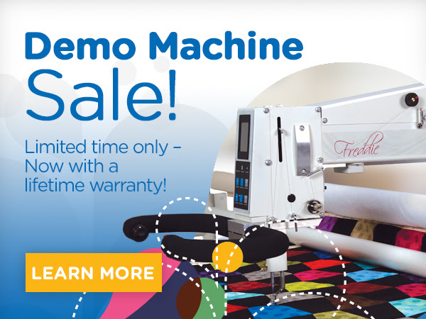 """APQS Demo Longarm Machine Sale! Limited Time Only - Now with a lifetime Warranty Learn More"""