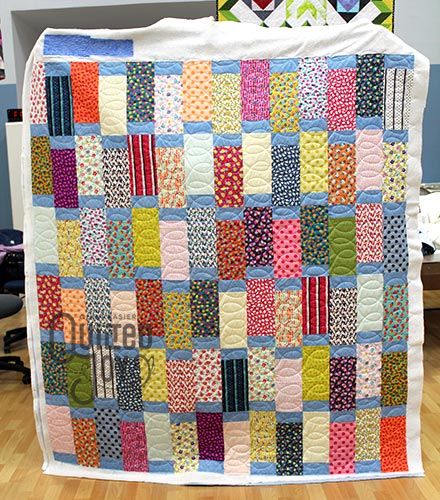 Erin's Long Block Quilt, quilted on a longarm quilting machine at Quilted Joy