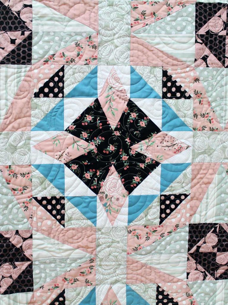 Bliss and Blossom Quilt, designed and quilted by Angela Huffman of Quilted Joy