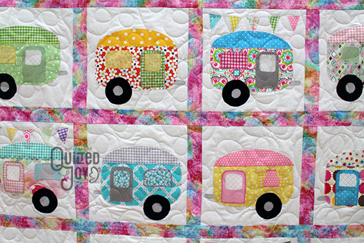 Lisa's Camper Quilt after longarm quilting at Quilted Joy