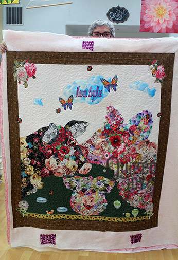 Mary's Lola and Olive Quilt after longarm quilting at Quilted Joy