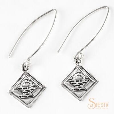 Sterling Silver Mini Basket Earrings on Long Wire
