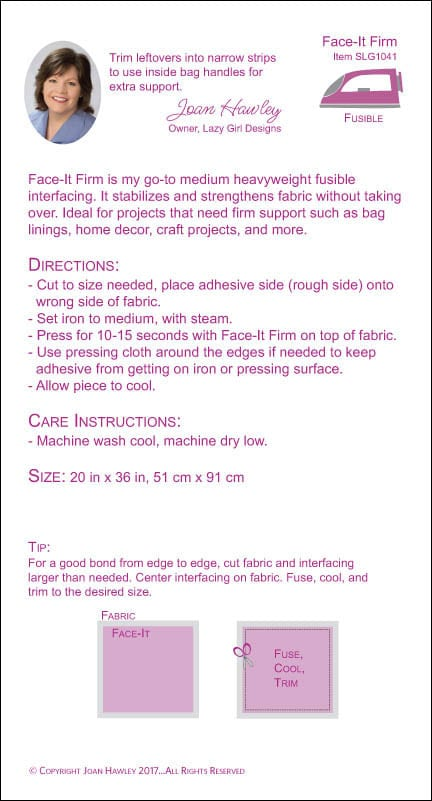 Face-It Firm Fusible interfacing