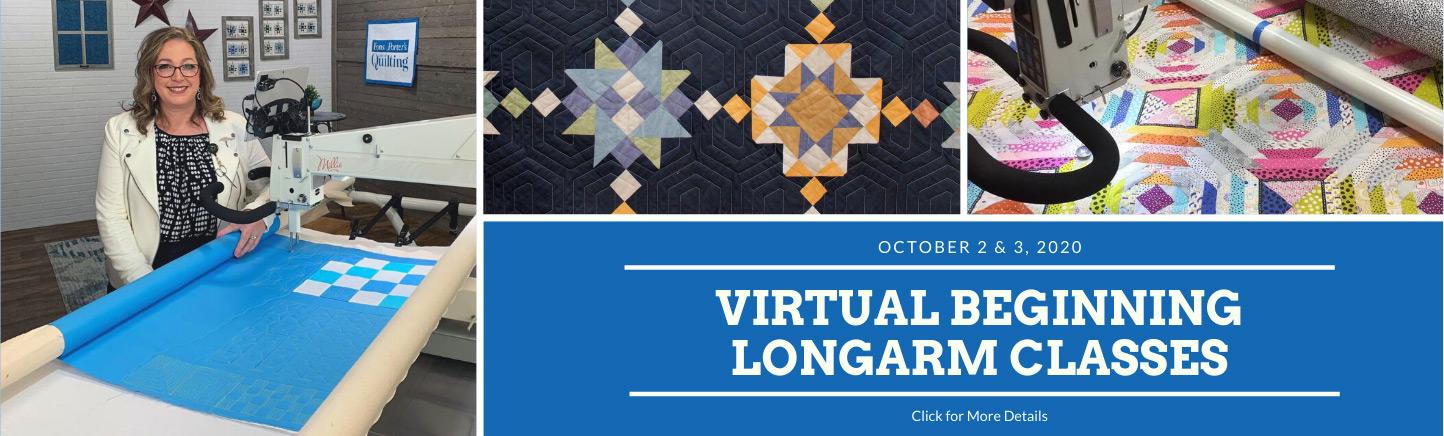 """October 2 & 3, 2020 Virtual Beginning Longarm Classes Click for more Details"""