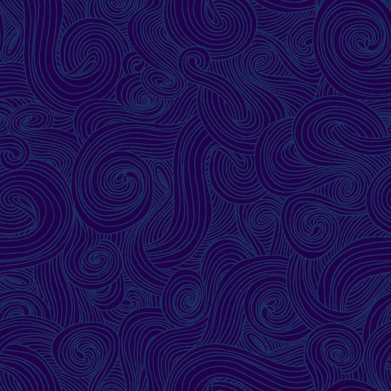 """Swirl 108"""" Quilt Back -Navy"""