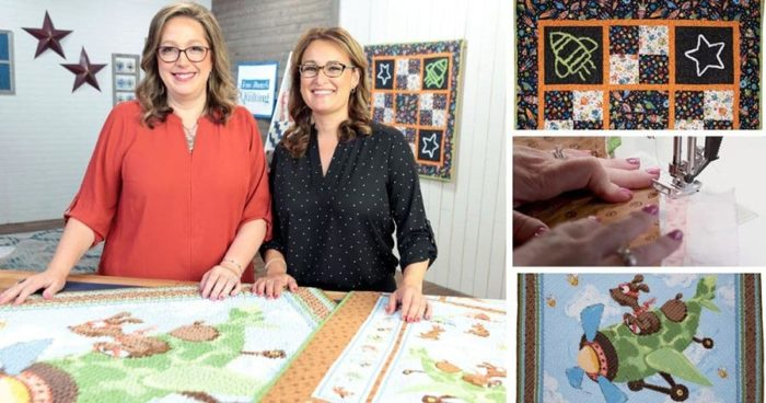 Chenille of Zig the Flying Ace Fabric Panel on Love of Quilting TV show with Angela Huffman and Sara Gallegos