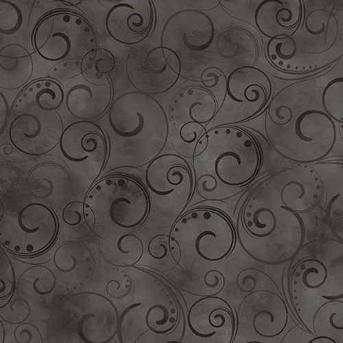 "Swirling Splendor 108"" Wide Back Charcoal #9705W98B, available at Quilted Joy"