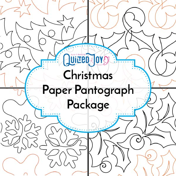 Christmas Paper Pantograph Package available at Quilted Joy with 4 Christmas inspired paper pantographs for longarm quilting