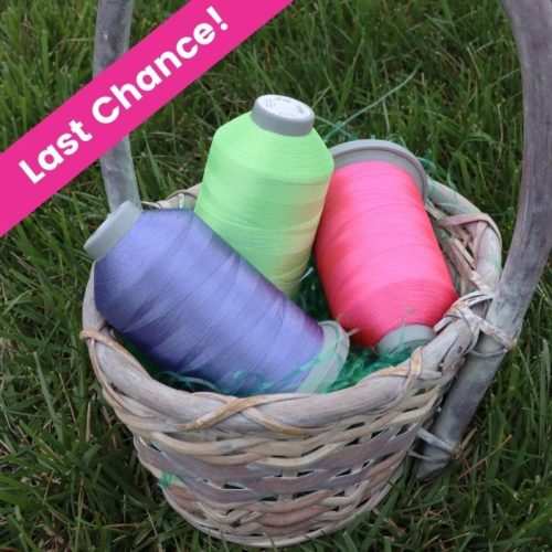 """image of Hoppy Spring Glide Thread pack in a Easter Basket on a grassy field with text """"Last Chance"""""""