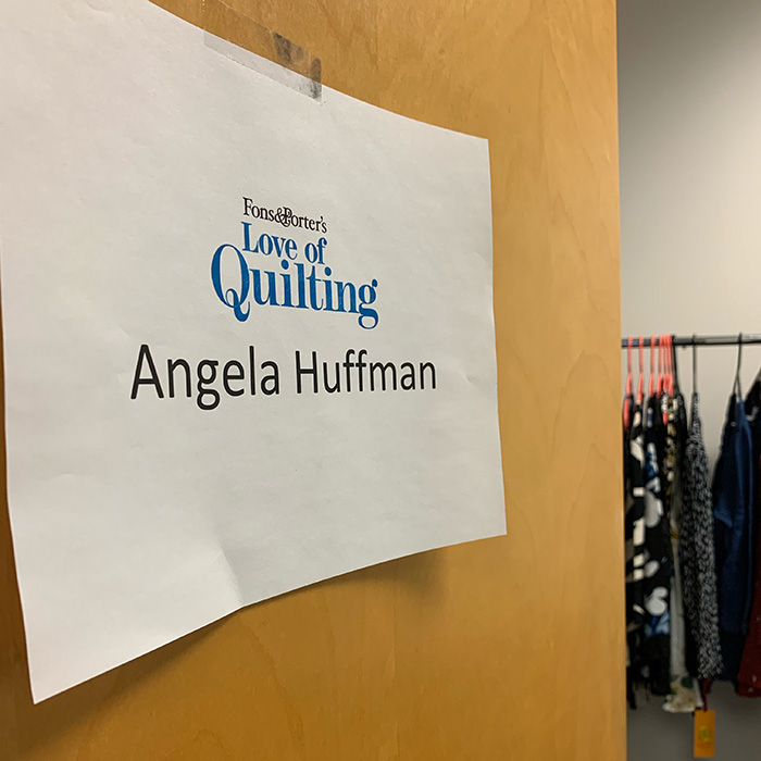 Angela Huffman's dressing room on the set of Love of Quilting TV