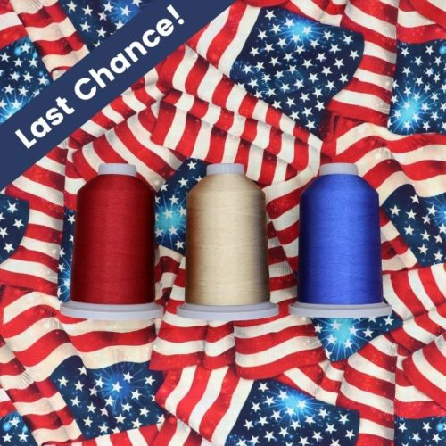 """image of Yankee Doodle Dandies Glide Thread Pack on an American flag background with text saying """"Last Chance!"""""""