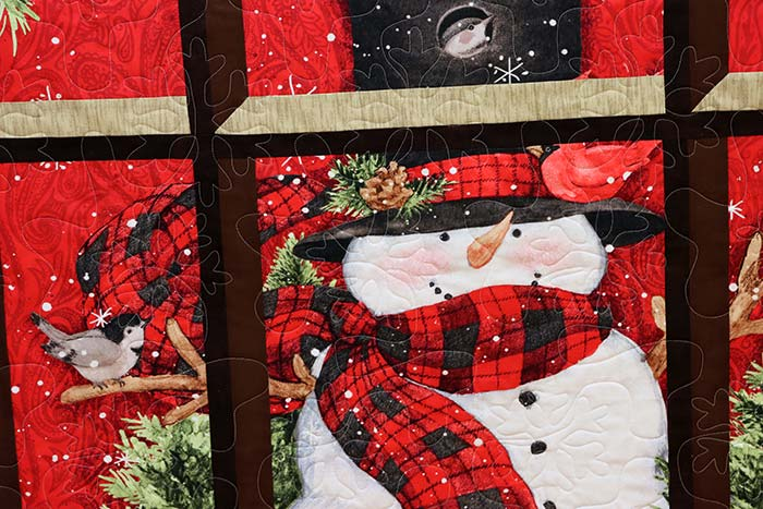 image of a snowman quilt