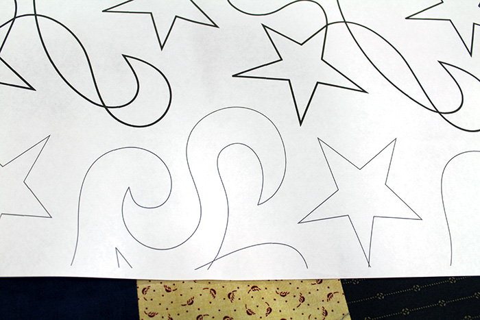 Close up of the ghost row on the Star Dance paper pantograph