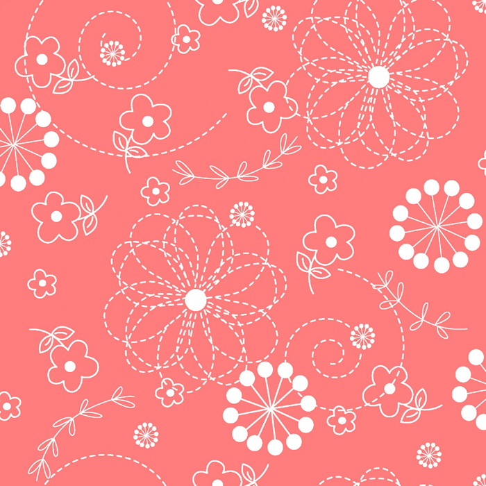 """Kimberbell Doodles - Peachy Pink 108"""" Wide Quilt Back Available at Quilted Joy"""