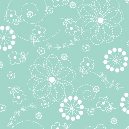 """Kimberbell Doodles - Teal 108"""" Wide Quilt Back Available at Quilted Joy"""