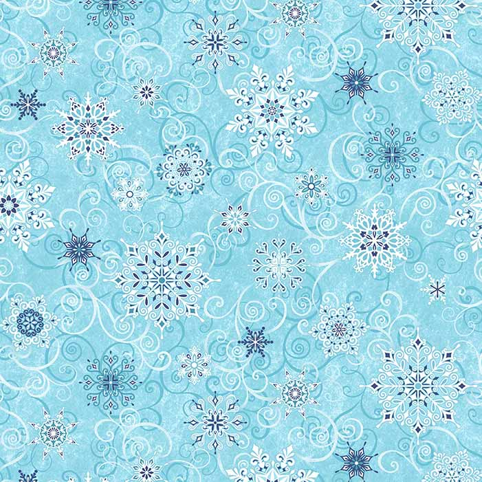 """image of Frozen Melodies 108"""" Wide Quilt Back Fabric in Frosty Blue"""