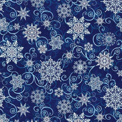 """image of Frozen Melodies 108"""" Wide Quilt Back Fabric in Deep Blue"""