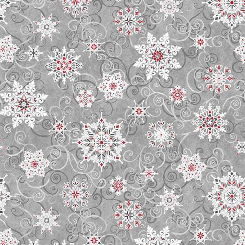 """image of Frozen Melodies 108"""" Wide Quilt Back Fabric in Grey Red"""