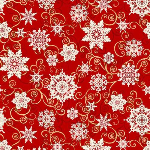 """image of Frozen Melodies 108"""" Wide Quilt Back Fabric in Red"""