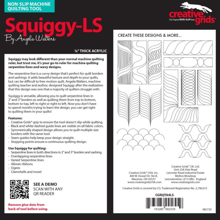 Squiggy Low Shank Machine Quilting Ruler Available at Quilted Joy