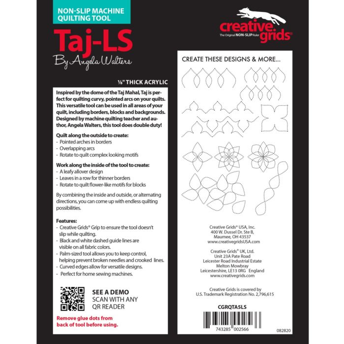 Taj Low Shank Machine Quilting Ruler Available at Quilted Joy