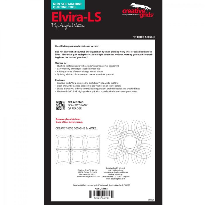 Elvira Low Shank Machine Quilting Ruler Available at Quilted Joy