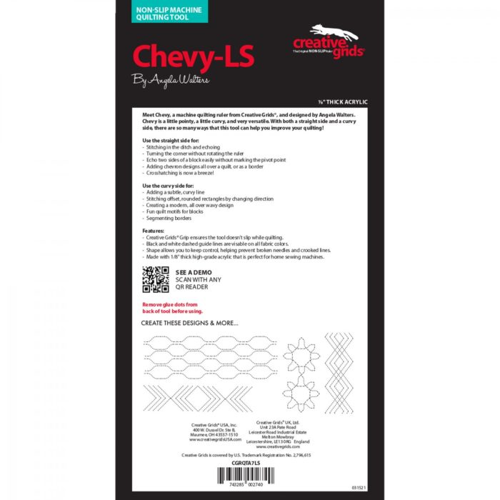 Chevy Low Shank Machine Quilting Ruler Available at Quilted Joy