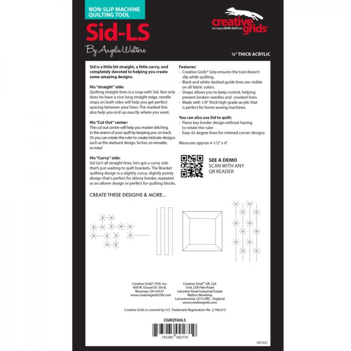 Sid Low Shank Machine Quilting Ruler Available at Quilted Joy