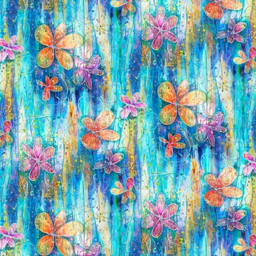 """Floral Dance - Teal 108"""" Quilt Back Available at Quilted Joy"""