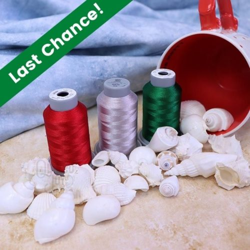 """image of three Glide thread cones in Christmas colors surrounded by seashells spilling out of a mug with text """"Last Chance!"""""""