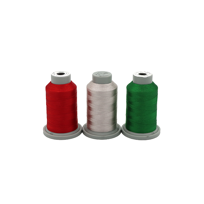 image of red, silver, and green Glide Thread 5000m King cones for the Santa and Sunshine Thread Pack