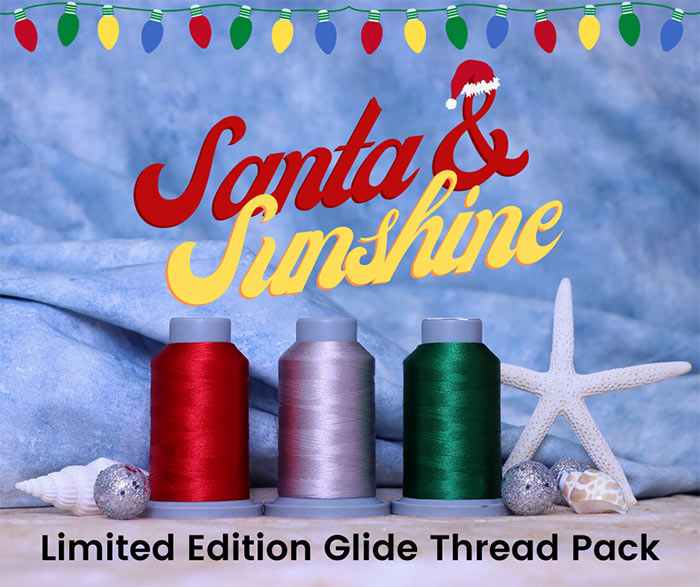 """image of three cones of Glide thread surrounded by seashells with text """"Santa & Sunshine Limited Edition Glide Thread Pack"""""""