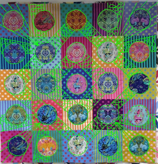 image of a colorful quilt using Tula Pink All Stars and polka dot fabrics with quilting design ideas drawn on by Angela Huffman