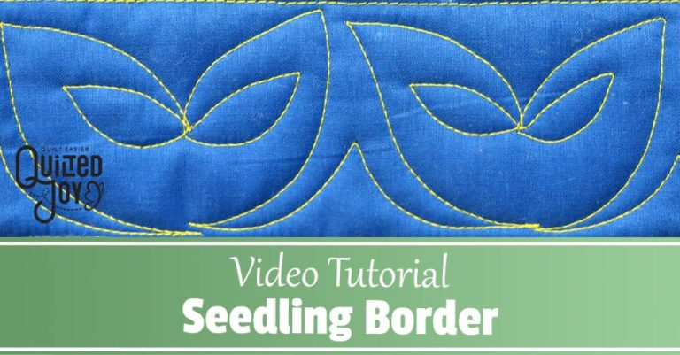 """image of the Seedling Border Quilting Design, text reads """"Video Tutorial Seedling Border"""""""