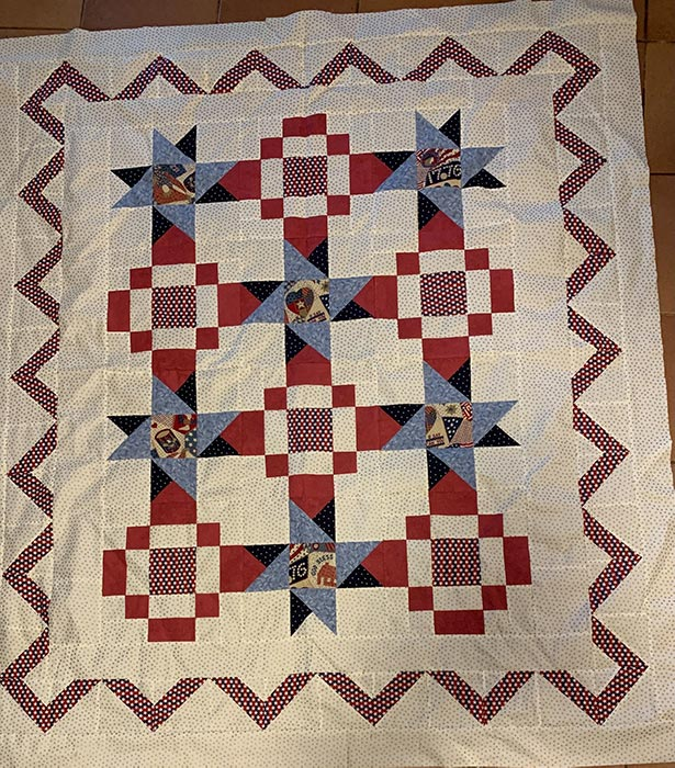 image of a quilt with patriotic fabrics and colors