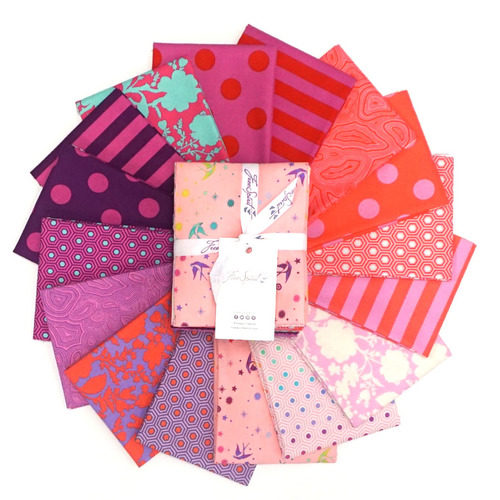 image of a collection of bright pink and purple fabrics, called Tula's True Colors Flamingo - Fat Quarter Bundle