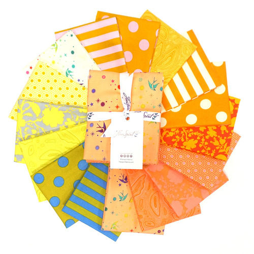 image of a collection of bright yellow, orange, and coral fabrics, called Tula's True Colors Goldfish - Fat Quarter Bundle