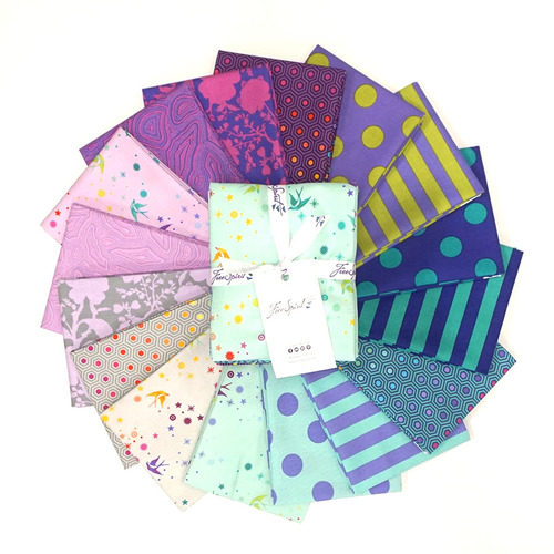 image of a collection of bright green, purple, and blue fabrics, called Tula's True Colors Peacock - Fat Quarter Bundle