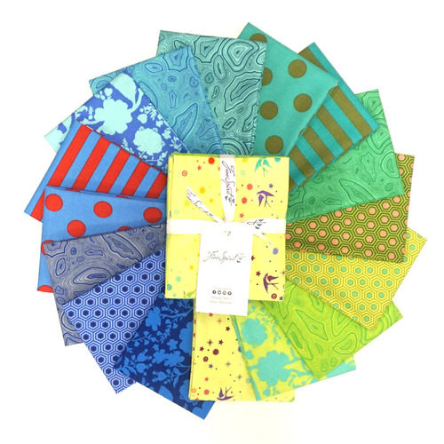 image of a collection of bright green, yellow, and blue fabrics, called Tula's True Colors Starling - Fat Quarter Bundle