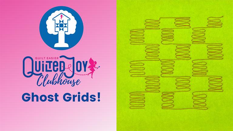 """image of a quilted checkerboard design with text """"Quilted Joy Clubhouse Ghost Grids!"""""""